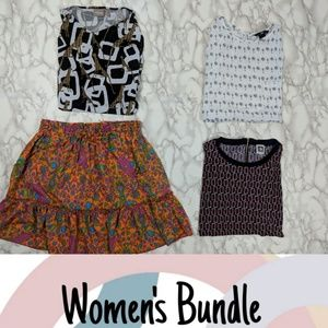 Bundle of 4 Women's Size Large Tops & Skirt